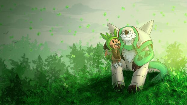 Chesnaught and Chespin by TheBrokenTV