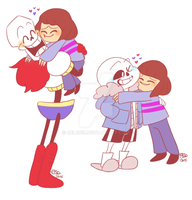 Papyrus And Sans Hug by Celebi9