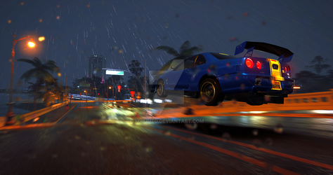 The Crew   Nissan Skyline R34 V-spec - City Lights by 3xhumed