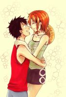 Nami and Luffy by 24person