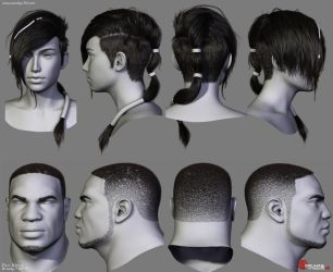 Gears of War Hairstyles 02 by Woodys3d
