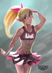 A toon Link in a skirt because he's cute by Kim-SukLey