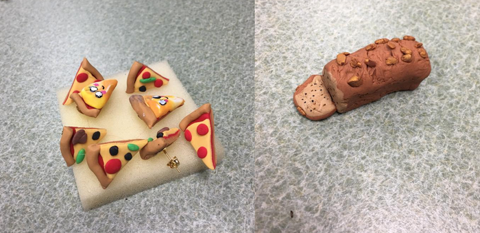 Pizza Earrings And Banana Bread Mini by TyTheNaught