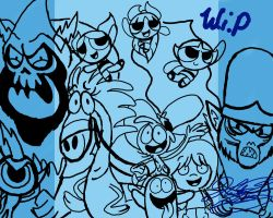 Tribute to Craig McCracken - Lineart/WIP by xLittle-Miss-Horrorx