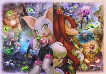Knuckles and Rouge by aoki6311