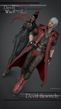 Devil and Witch (Dante and Bayonetta) by kingofshadows26