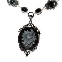 Steampunk Goth Jewelry - Necklace - Black and Grey by CatherinetteRings