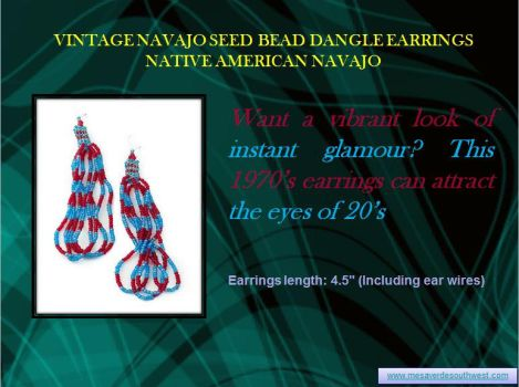 Vintage Navajo Seed Bead Dangle Earrings Native Am by mesaverde1