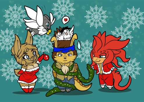Crysmas Gift_The gang is up for a Xmas tree by Crysalia777