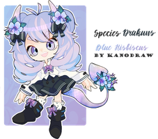Blue Hibiscus Drakuns Adoptable [CLOSED] by amepan