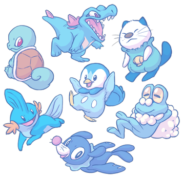 Water Type Starters by Shoyrcloud