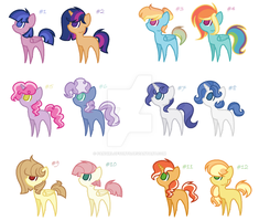 (MLP) Ship Adoptables - OPEN - by FangirlOfSorts