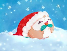 A Christmas Rowlet  by Hynael
