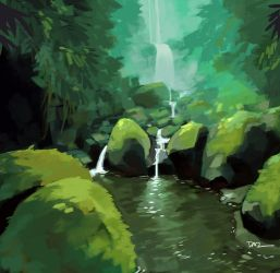 Rainforest Waterfall by tohdraws