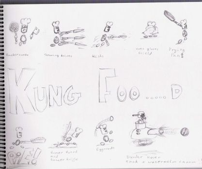 Kung Foo-D original sketches by Godfrey-Greyhaven