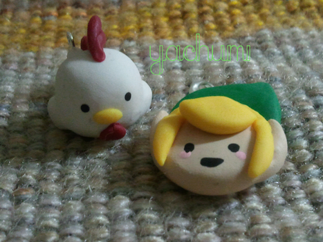 Legend of Zelda: cucco and link charms by yachumichan77