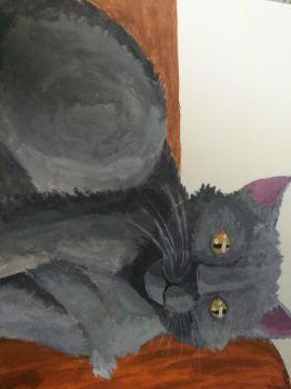 Painting my pet cat next to a pumpkin. by themaintheif