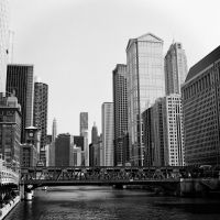 Washing Windows Over the Chicago River by jonniedee