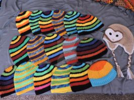 A pile of hats by KichisCrafts