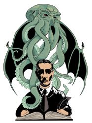 H.P. Lovecraft and Cthulhu - Tattoo design by Klalier