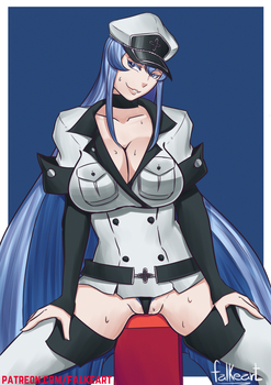 Esdeath fanart (with nsfw version) by Falkeart