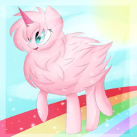 pink fluffy unicorns dancing on rainbows by Luntaria