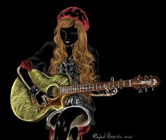 Girl playing guitar by ryster17