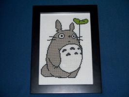 totoro with leaf umbrella by eevilkat