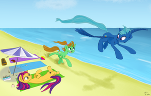The girls racing at the beach by Coldtrail