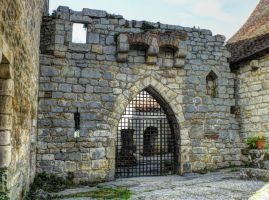 St Cirq Lapopie 16 - Medieval castle's gate by HermitCrabStock