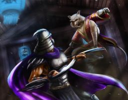 Shredder vs Splinter by gbrsou