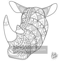Northern White Rhino (The Exotic Colouring Book) by megcowley