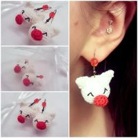 Moogle Earrings (Crocheted) by Marik0