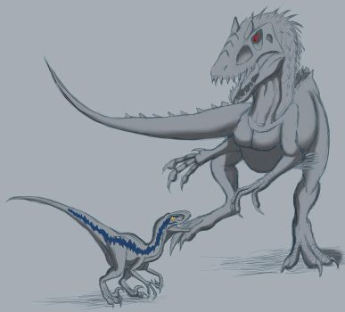 Blue vs Indominus rex by MightyRaptor