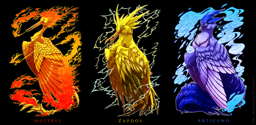 PKM: Legendary Avian Trio by Empyrisan