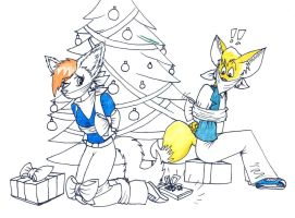 Pibi and Fred under Xmas tree by Levvvar
