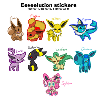Eeveelution stickers for sale by KitsuGuardian