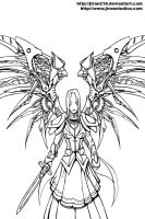 Afini -Blade Mistress- Lineart by DaosX