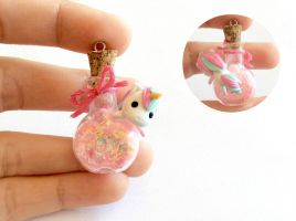 Miniature Unicorn Bottle Charm by AlphaChoconess95