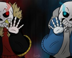 Undertale and Underfell Sans by Juvia-chan1994
