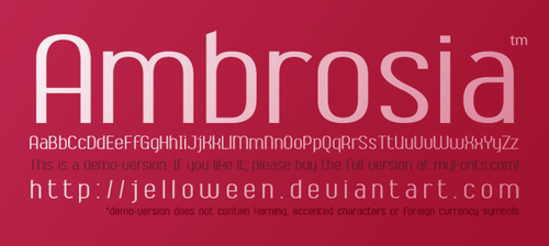 Font: AMBROSIA - demo by jelloween