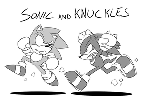 Inktober 2017 - Sonic and Knuckles by Star-Rocket