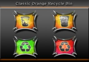 classic orange recycle bin by xylomon