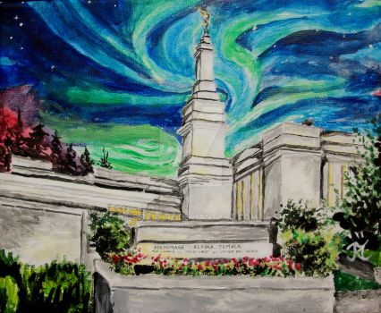 Northern Lights over Anchorage, Alaska LDS Temple by Ridesfire