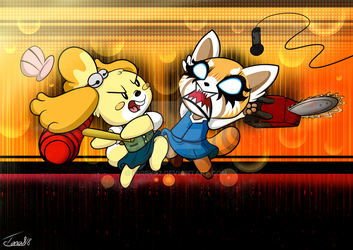 Isabelle VS Retsuko by mirry92