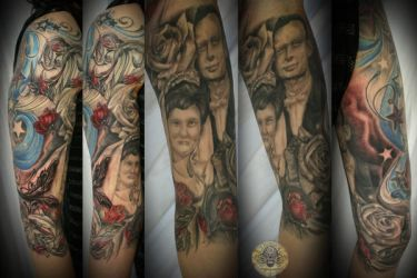 portrait of parents roses fin by 2Face-Tattoo