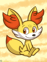 Fennekin Being Cute by MeckelFoxStudio