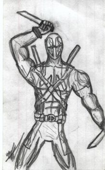 Deadpool Sketch Card by BobTheEgg