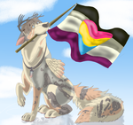 YCH LGBT Nigel with Asexual Panromtic Flag (CM) by Gerundive