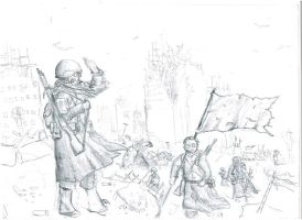 Marching through post-apocalypse ruins by YourLocalTechpriest
